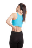Asian healthy girl got neck pain and back pain. Isolated on white background Stock Photos