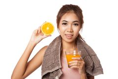 Asian healthy girl with orange  juice and orange Royalty Free Stock Photo