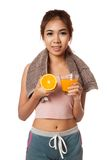 Asian healthy girl with orange and orange juice Stock Photo