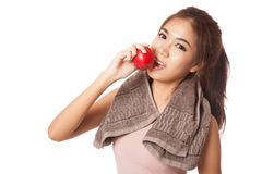 Asian healthy girl smile bite red apple Royalty Free Stock Photography