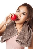 Asian healthy girl smile bite red apple Royalty Free Stock Photo
