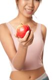 Asian healthy girl smile with red apple Royalty Free Stock Photos