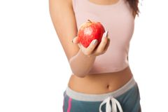 Asian healthy girl smile with red apple Stock Image