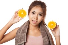 Asian healthy workout girl with orange Royalty Free Stock Photo