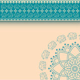 Asian henna elephants blue and cream border design with space for text Stock Images