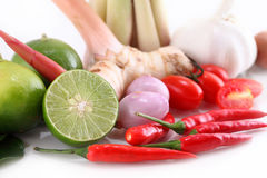 Asian herb and spicy Tom Yum ingredients food. Royalty Free Stock Images