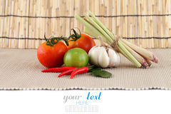 Asian herb and spicy Tom Yum ingredients food Royalty Free Stock Photo