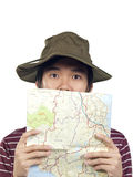 Asian hiker with map Stock Photo