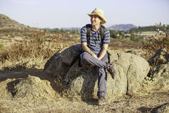 Asian Hiker Resting Stock Images