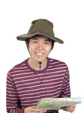 Asian hiker smiling with map Royalty Free Stock Images