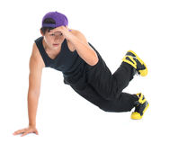 Asian hip hop dancer. Full body cool looking young Asian teenage dance hip hop on white background. Asian youth culture royalty free stock image