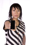Asian-Hispanic Woman Holding a Cell Phone Stock Photo
