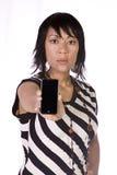 Asian-Hispanic Woman Holding a Cell Phone Stock Photo