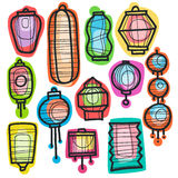 Asian holiday hand drawn doodle paper lanterns. Stock Image