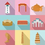 Asian homeland icons set, flat style. Asian homeland icons set. Flat set of 9 asian homeland vector icons for web isolated on white background Royalty Free Stock Photography