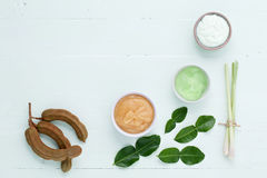 Asian homemade fresh herbs scrubs. Asian homemade fresh herbs scrubs Stock Photography