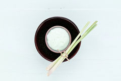 Asian homemade fresh herbs scrubs. Asian homemade fresh herbs scrubs Royalty Free Stock Image