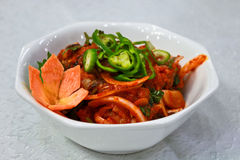 Asian hot fish salad. Dish with asian fish spicy salad Royalty Free Stock Photography