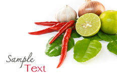 Asian hot and spicy ingredients food. (chilli, garlic, lemon, onion Stock Photo