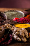 Asian hot theme with spices Stock Images