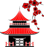 Asian house. And cherry blossoms, stencil Royalty Free Stock Image