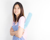 Asian house cleaner maid with dust cleaner isolated Stock Photos