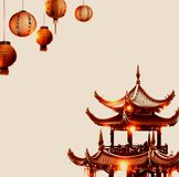 Asian house and lanterns. The image of Asianstyle - pagoda and lanterns. There is a place for text Royalty Free Stock Photography