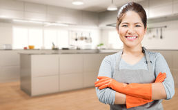 Asian housewife arm crossed Royalty Free Stock Photo