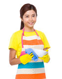 Asian housewife cleaning of bowl Royalty Free Stock Image