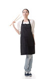 Asian housewife hold chopsticks Stock Image