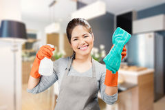 Asian housewife holding spray bottle and rag Stock Images