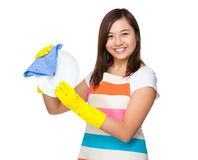Asian Housewife wash the dish stock image