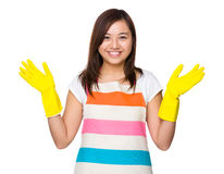 Asian housewife wear with plastic gloves Royalty Free Stock Images