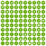 100 asian icons hexagon green. 100 asian icons set in green hexagon isolated vector illustration Royalty Free Illustration