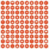 100 asian icons hexagon orange. 100 asian icons set in orange hexagon isolated vector illustration Stock Illustration