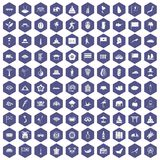 100 asian icons hexagon purple. 100 asian icons set in purple hexagon isolated vector illustration Royalty Free Stock Photos