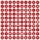 100 asian icons hexagon red. 100 asian icons set in red hexagon isolated vector illustration vector illustration