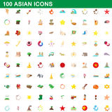 100 asian icons set, cartoon style. 100 asian icons set in cartoon style for any design vector illustration royalty free illustration