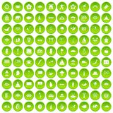 100 asian icons set green circle. Isolated on white background vector illustration Stock Illustration