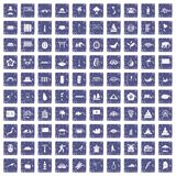 100 asian icons set grunge sapphire. 100 asian icons set in grunge style sapphire color isolated on white background vector illustration royalty free illustration