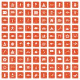 100 asian icons set grunge orange. 100 asian icons set in grunge style orange color isolated on white background vector illustration Stock Illustration