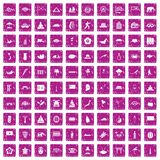 100 asian icons set grunge pink. 100 asian icons set in grunge style pink color isolated on white background vector illustration stock illustration
