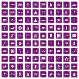 100 asian icons set grunge purple. 100 asian icons set in grunge style purple color isolated on white background vector illustration Royalty Free Stock Photography