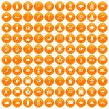 100 asian icons set orange. 100 asian icons set in orange circle isolated on white vector illustration royalty free illustration