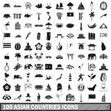 100 asian icons set in simple style Royalty Free Stock Photos