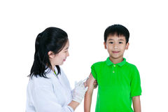 Asian illness boy get an injection, vaccination. Isolated on white background. stock image