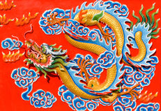 Asian image dragon in a temple Stock Photography