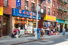 Asian immigrants at Chinatown in New York. City royalty free stock photos