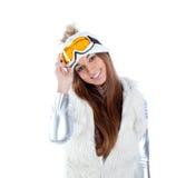 Asian indian brunette winter girl Royalty Free Stock Photo