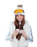 Asian indian brunette winter girl Stock Images